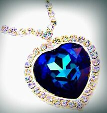 Large Sapphire Heart & Crystal Necklace Pendant Jewelry Titanic Heart of Ocean