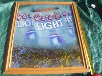 Vintage Coors Light Silver Bullet Mirror Sign Game Room Man Cave Bar Pub Garage
