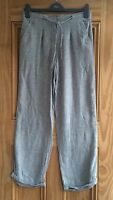 Ladies M & CO Grey Linen Mix  Straight Leg Summer Casual Trousers Size 8 - 10