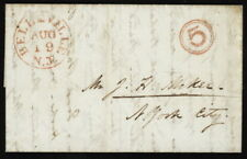 1845 US Stampless folded letter w/red Belleville N.J. pmk to New York City