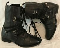 River Island Black Ankle Leather Lovely Boots Size 5 (654Q)