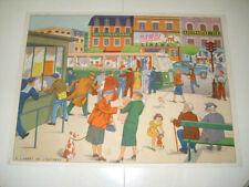 ancienne affiche scolaire Rossignol ARRET AUTOBUS / JARDIN AU PRINTEMPS an 50/60