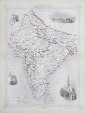 c1854 BRITISH INDIA Genuine Antique Map by Rapkin FREE WORLDWIDE P&P