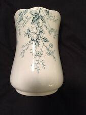 "Antique Pottery ""Daisy England"" Vase Blue & White Flowered Scalloped Edge"