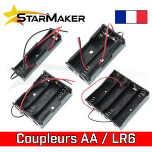 Support boitier AA coupleur batterie 1, 2, 3, 4 piles LR6 1.5V 3V 4.5V 6V
