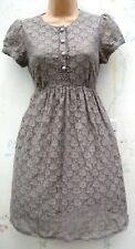 SIZE 8 50s STYLE GREY LACE FIT & FLARE SKATER SUMMER DRESS LINED # US 4 EU 36