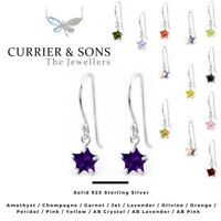 925 Sterling Silver Star Cubic Zirconia Drop/Dangle Earrings (6mm)