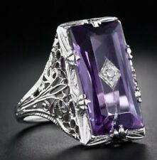 Purple Amethyst Zircon 925 Silver Ring Women Wedding Engagement Jewelry Sz 6-10