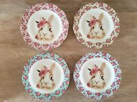 "Elegance Spring Easter Bunny Rabbit Dessert Appetizer 9"" Plates Set of 4"