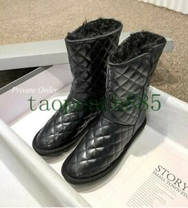 Women's Leather Snow Boots Wool Fur Lined Ankle Boots White Boots Shoes Winter