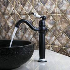 Black Oil Deck Mount Single Lever/Hole Faucet Tall Bathroom Basin Mixer Taps