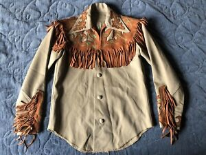 vintage youth Vaquero Fashions western leather fringe wool pearl snap shirt