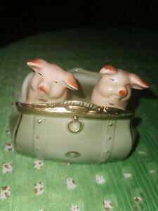 Porzellan, Schweine In Tasche, sehr guter Zustand, 11x9 cm