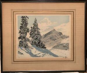 Vintage Hans Figura Garmisch Alpine Peak Original Etching ~ Signed 136/250