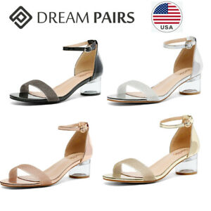 DREAM PAIRS Womens Ankle Strap Open Toe Low Block Heel Sandals Party Dress Shoes