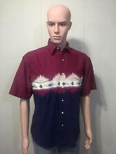 "Mens Cotton ""Rustler"" Short Sleeve Pearl Snap Aztec Western Cowboy Shirt Medium"
