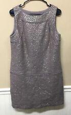 LOFT Taupe Wool Blend Sleeveless Dress Sequins Sz 10 NWT