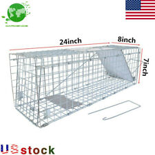 New Humane Animal Trap Steel Cage Rodent Control Skunk Possum Raccoon 24*8*7inch