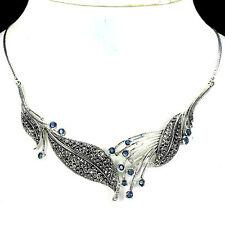 Silver 925 Genuine Natural Marcasite & Sapphire Leaf Design Necklace 171/2 Inch