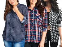 Women's Roll Up Long Sleeve Collared Button Down Plaid Shirt PLUS SIZE