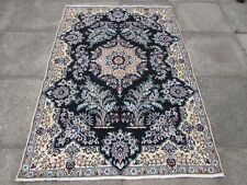 Fine OLD Traditional Hand Made Persian Rug Wool Silk Navy Blue Rug 183x128cm
