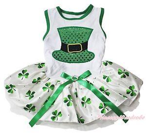 St Patrick Bling Hat White Top Green Clover Gauze Skirt Pet Dog Puppy Cat Dress