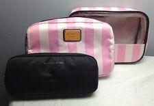 VICTORIA'S SECRET BEAUTY BAG TRIO SET TRAVEL MAKEUP/COSMETIC BAG PINK STRIPES