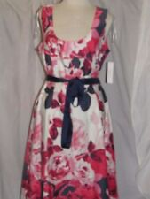 NEW! Signature by Robbie Bee Ivory red navy FLORAL Fit & Flare Dress Sz.12  NWT