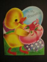 1950s vintage greeting card Norcross EASTER diecut To Godchild Duck Egg glitter
