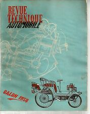 REVUE TECHNIQUE AUTOMOBILE 102 RTA 1954 SALON DE L'AUTOMOBILE 1954