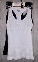 CARRIE AMBER Racer Back Shapewear Tank Top 2 Pack Black White Womens Sz M L XL