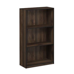 Furinno 99736 Basic 3-Tier Bookcase Storage Shelves, French Oak Grey/Black