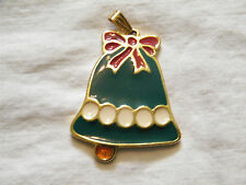 Beautiful Holiday Pendant Christmas Bell Enamel Signed Wallace Silversmiths WOW