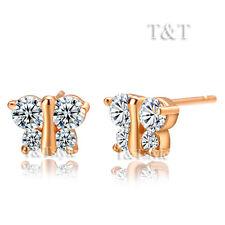 T&T 9K Rose Gold GP Clear CZ Butterfly Stud Earrings (ED38)