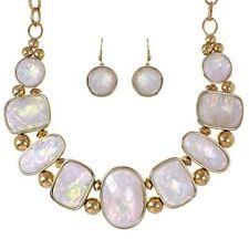Gold-tone Abalone Shell Gemstone with Opal-like Aurora Borealis color Stone Set