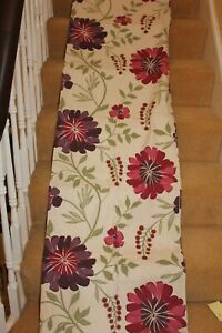 """Lovely Pair & ! Cotton Eyelet Curtains Oatmeal Cerise Purple Floral 44 x 88""""7359"""