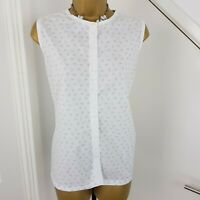 The Savile Row Company Top Buttoned Sleeveless Vest Cotton Print White Size 14