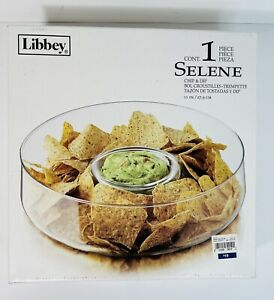 """Libbey Selene Chip & Dip Clear Glass Round Serving Bowl 11"""" New Open Box"""