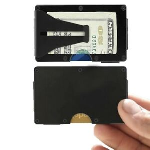 Ultra-Slim Wallet RFID Card Protection Money Holder Black Aluminum, Blue, Silver
