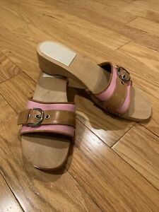 Coach Women's Clogs Sandals Wood Platform Mules Slides Pink Cognac Leather Sz 10