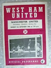 1960 WEST HAM UNITED v MANCHESTER UNITED, 5th Sept (League Division One)