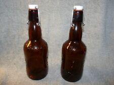 Lot of 2 Vintage Grolsch Beer Bottles Amber Brown Glass Porcelain Flip Swing Top