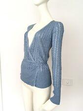 Luxe ESPRIT Silk Cotton Light Holey Wrap Tie Top Cardigan Blue Marle 6 8 XXS XS