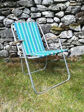 Vintage Striped Folding Garden Deck Chair Plastic Armrests VW Camping 60s 70s