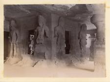 Inde, Grottes d'Elephanta, Gardiens du garbha-griha, ca.1890, Vintage album