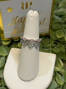 Ring Bomb Party Holiday Gifting Pink Cubic Zirconia Sterling Silver Size 6 Ring