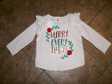 Mud Pie Christmas Sequin Tee - Merry Everything Girls Toddler Size 2T - 3T Nwt