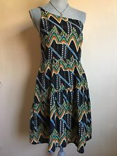 twelfth street by cynthia vincent One Shoulder Multicolor Black Dress Size 6