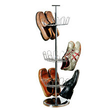 3 Tier Revolving Metal Shoe Tree Storage Rack Holds Up To 18 Pairs Rotating New