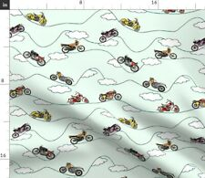 Motorcycles Bikes Motorcycle Cloud White Old Spoonflower Fabric by the Yard